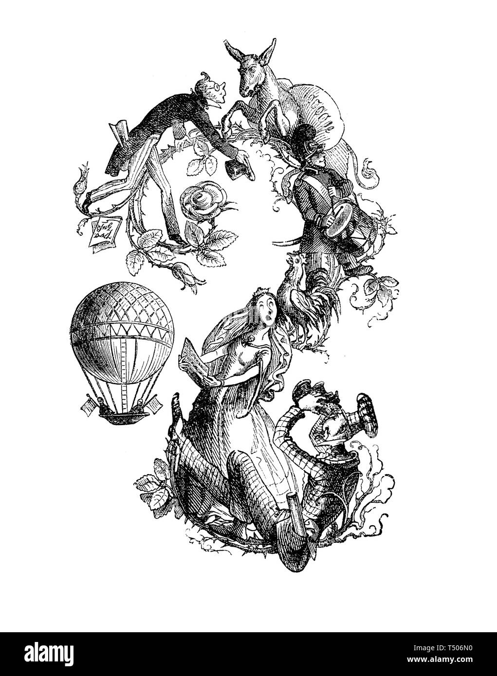 Typographic decoration as frame or border with funny caricatures, animals  and a hot-air balloon - Stock Image