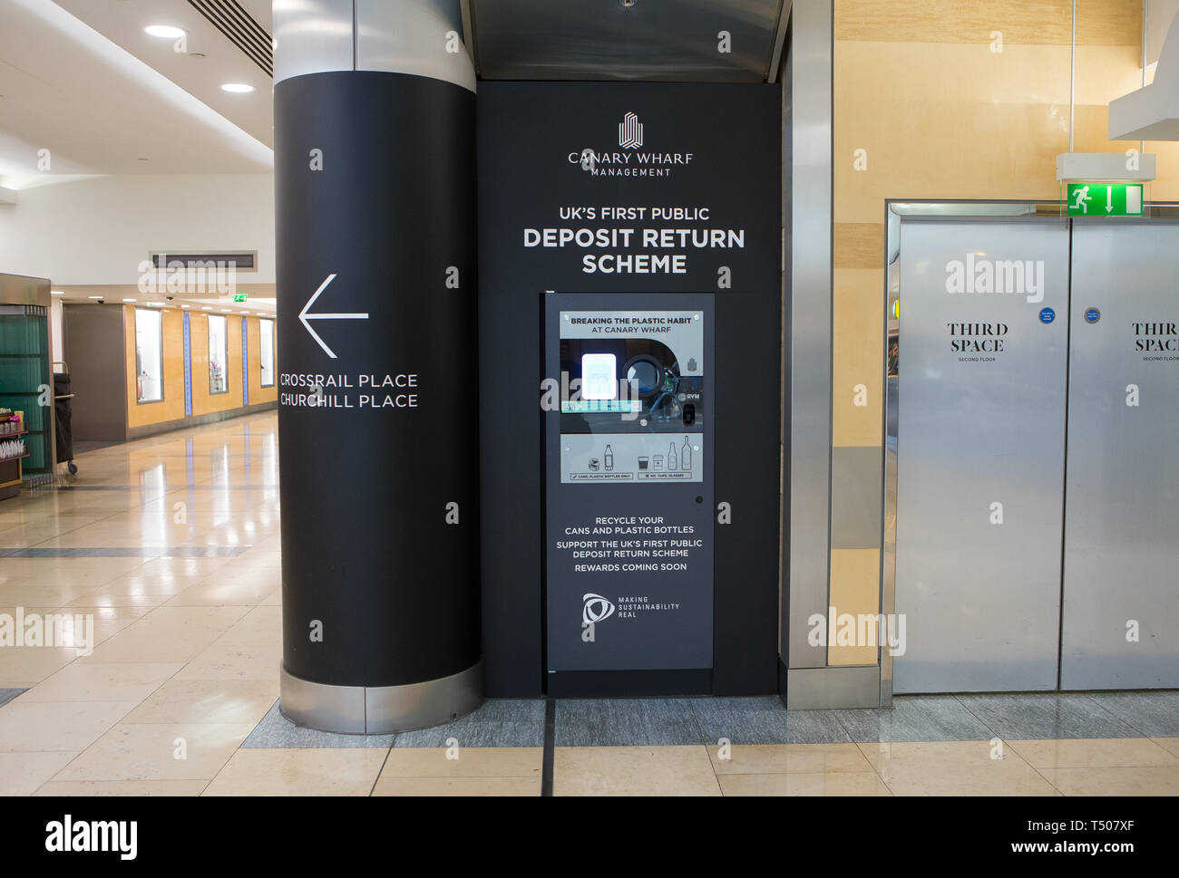 UK's first public Deposit Return Scheme machine, Canary Wharf, London England UK - Stock Image