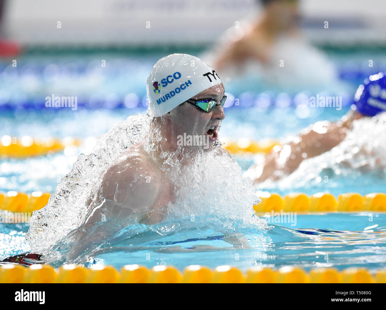 Ross Murdoch competing in the Men's 200m Breaststroke final during day four of the 2019 British Swimming Championships at Tollcross International Swimming Centre, Glasgow. Stock Photo