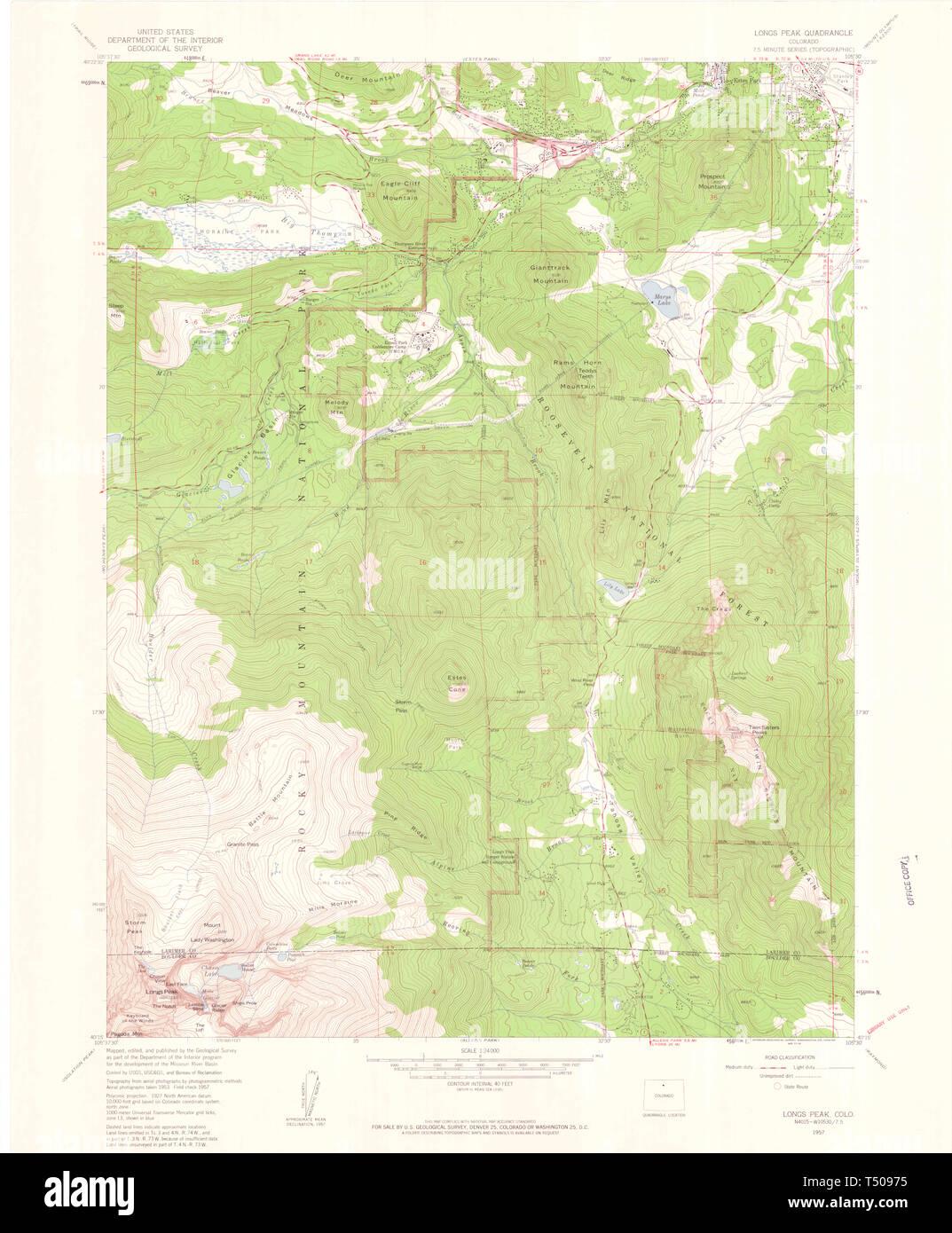 Usgs Topo Map Colorado Co Longs Peak 450531 1957 24000