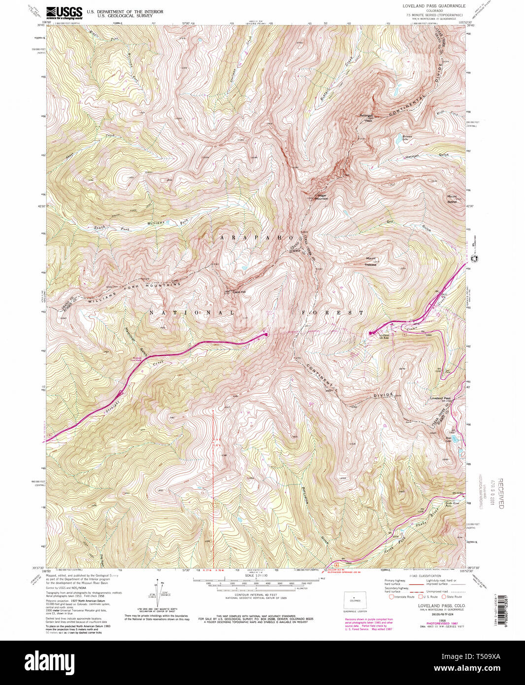 USGS TOPO Map Colorado CO Loveland Pass 233663 1958 24000 ...