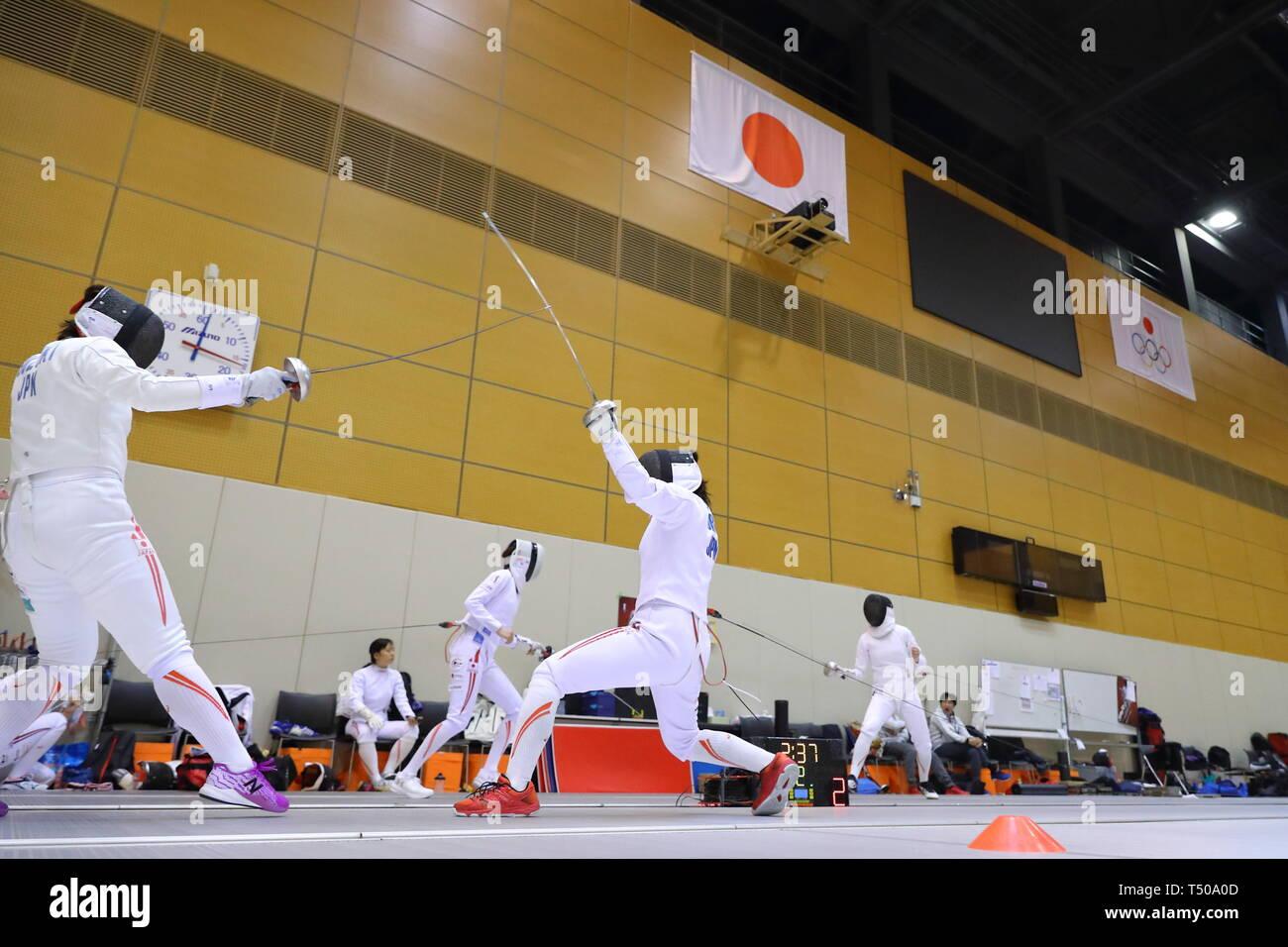 Ajinomoto National Training Center, Tokyo, Japan. 19th Apr, 2019. General view, APRIL 19, 2019 - Fencing : Japan National Team Training Session at Ajinomoto National Training Center, Tokyo, Japan. Credit: Naoki Nishimura/AFLO SPORT/Alamy Live News Stock Photo