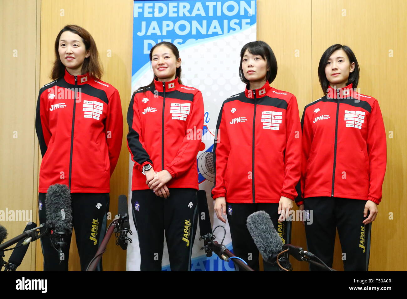 Ajinomoto National Training Center, Tokyo, Japan. 19th Apr, 2019. (L-R) Nozomi Sato, Ayumu Saito, Rie Yamada, Haruna Baba (JPN), APRIL 19, 2019 - Fencing : Japan National Team Training Session at Ajinomoto National Training Center, Tokyo, Japan. Credit: Naoki Nishimura/AFLO SPORT/Alamy Live News Stock Photo