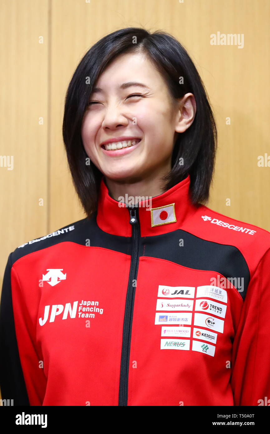 Ajinomoto National Training Center, Tokyo, Japan. 19th Apr, 2019. Haruna Baba (JPN), APRIL 19, 2019 - Fencing : Japan National Team Training Session at Ajinomoto National Training Center, Tokyo, Japan. Credit: Naoki Nishimura/AFLO SPORT/Alamy Live News Stock Photo