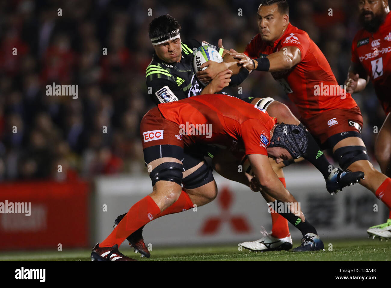 Tokyo, Japan. 19th Apr, 2019. Reed Prinsep (Hurricanes) Rugby : 2019 Super Rugby match between Sunwolves 23-29 Hurricanes at Prince Chichibu Memorial Stadium in Tokyo, Japan . Credit: YUTAKA/AFLO SPORT/Alamy Live News Stock Photo