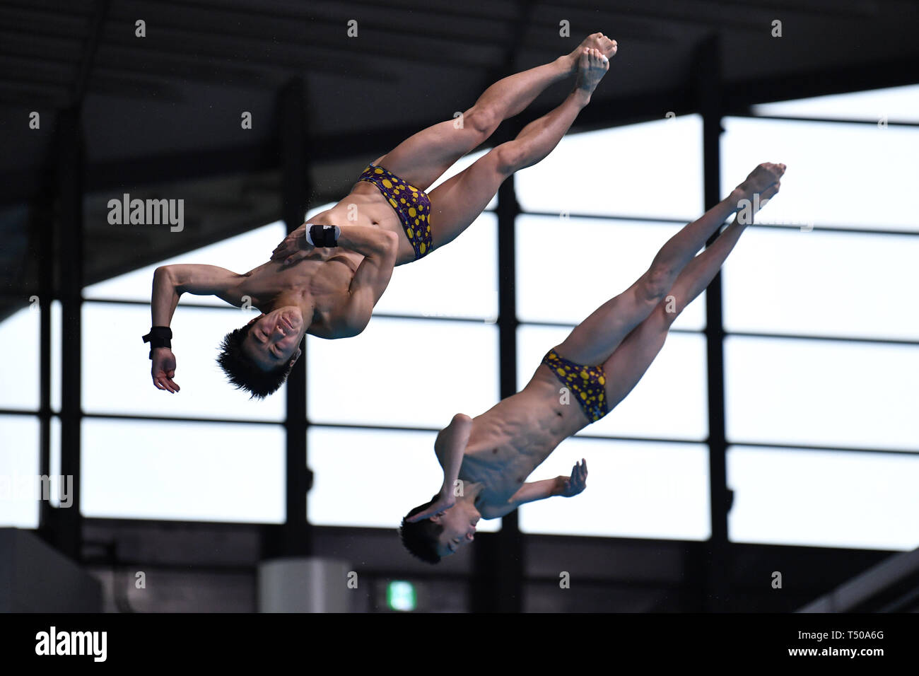 Tetsuki Takakuwa & Reo Sakata, APRIL 19, 2019 - Diving : Japan Indoor Diving Championship 2019 Men's Synchronised 3m Springboard Final at Tatsumi International Swimming Center, Tokyo, Japan. (Photo by MATSUO.K/AFLO SPORT) Stock Photo