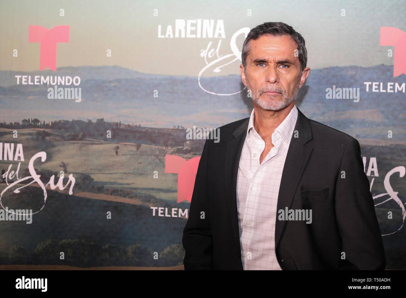 Miami, FL, USA. 18th Apr, 2019. Humberto Zurita at the red carpet premiere screening and Q&A for season 2 of Telemundo's La Reina del Sur at the Telemundo Center in Miami, Florida on April 18, 2019. Credit: Majo Grossi/Media Punch/Alamy Live News - Stock Image