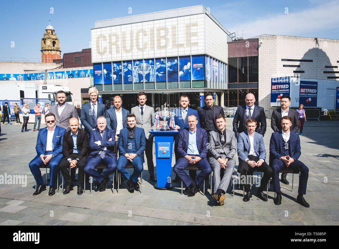April 19, 2019 - Players pose in front of the Crucible Theatre at ...
