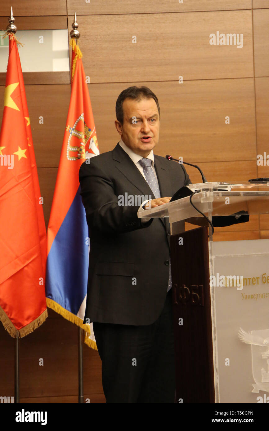 (190420) -- BELGRADE, April 20, 2019 (Xinhua) -- Ivica Dacic, first deputy prime minister and foreign minister of Serbia, addresses the opening ceremony of the 3rd international scientific conference 'One Belt, One Road -- Serbia and the Initiative 16 1' in Belgrade, Serbia, April 19, 2019. Concerns of the European Union (EU) over the strengthening of the China and Central and Eastern European Countries (CEECs) cooperation were unjustified, Ivica Dacic said on Friday. The 3rd international scientific conference 'One Belt, One Road -- Serbia and the Initiative 16 1' gathered academics, business - Stock Image