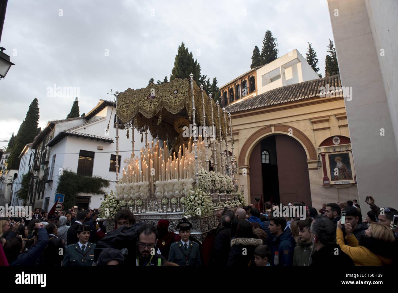 Granada, Spain  19th Apr, 2019  A statue of a Virgin from ''Favores