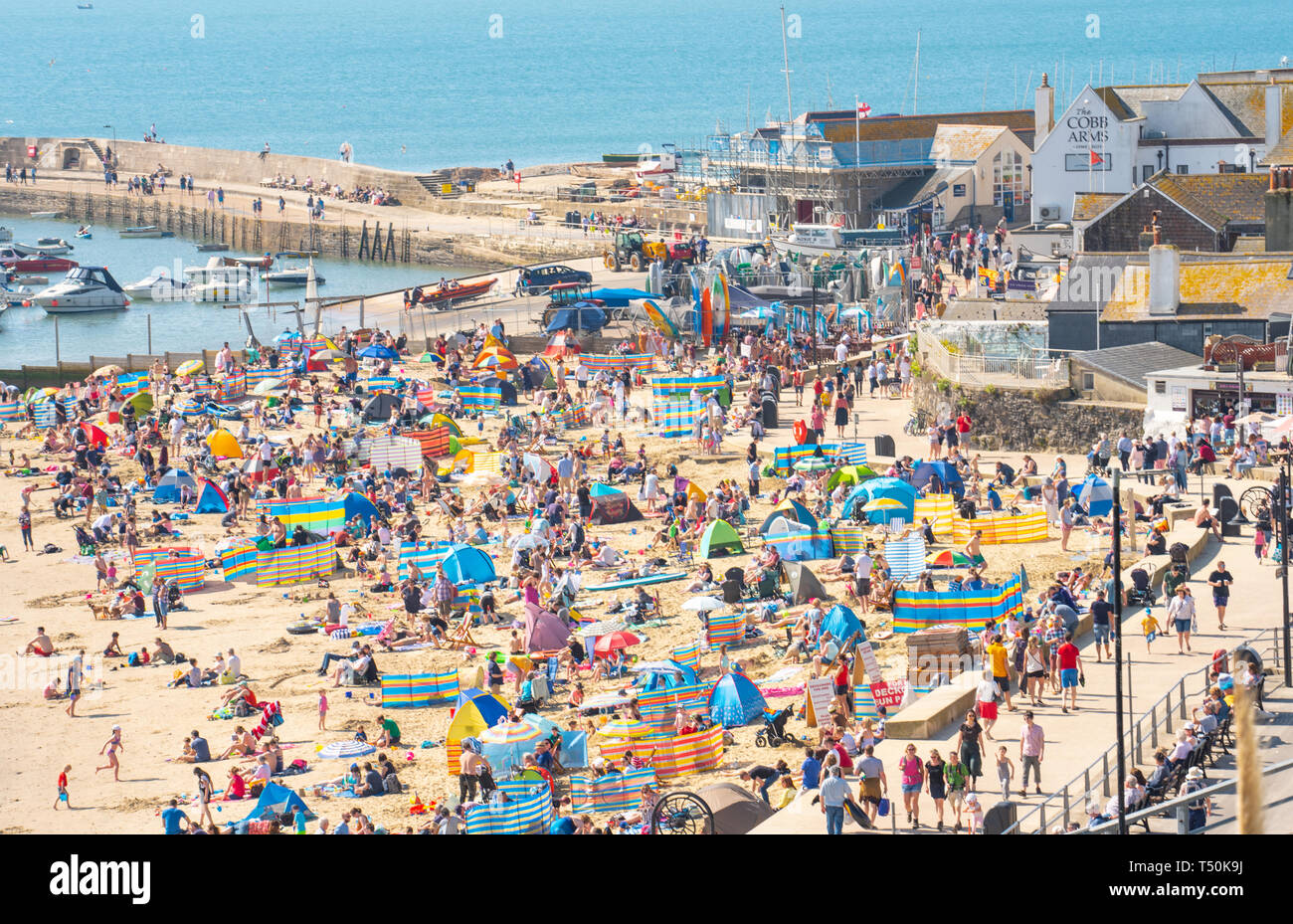Lyme Regis, Dorset, UK. 20th April 2019. UK Weather: Holiday makers and beachgoers pack the pretty beach at the seaside resort of Lyme Regis to bask in sizzling hot Easter Saturday sunshine on the hottest day of the year so far.  Sunbathers enjoy bright blue skies as they soak up the sun in record breaking Easter Bank Holiday temperatures and the hottest Easter weekend for 70 years. The town's main beach is packed by 10.30 am. Credit: Celia McMahon/Alamy Live News. - Stock Image