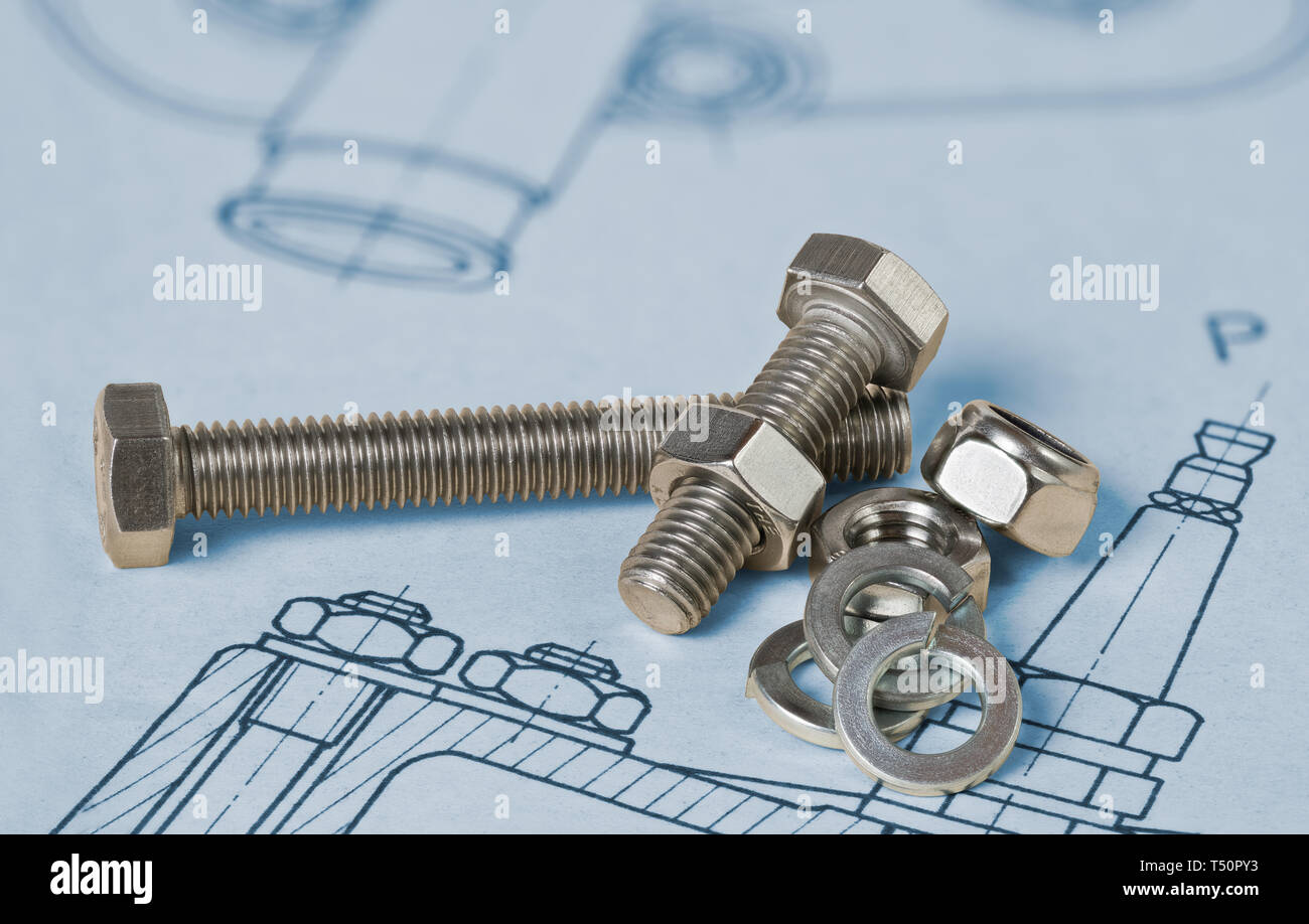 Metallic bolts. Hexagon nuts. Drafting. Washers group. Technical drawing. Thread steel screw parts. Professional documentation. Mechanical engineering. - Stock Image
