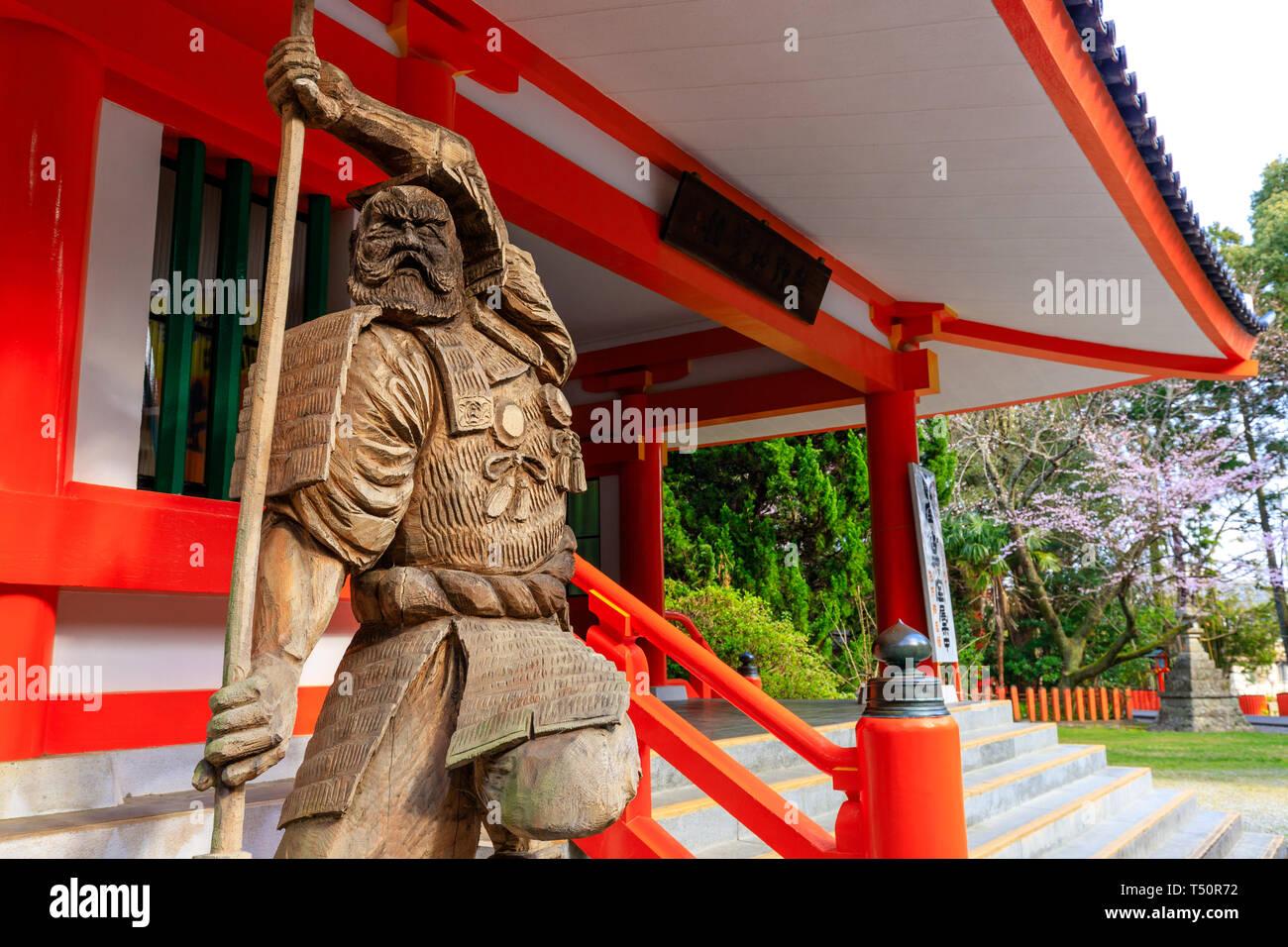 Shinto wooden statue, guardian of the Kumano Hayatama-taisha shrine in Shingu, Japan Stock Photo