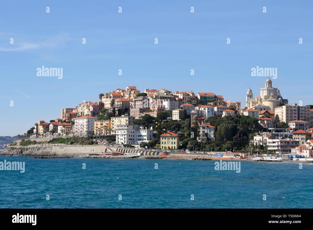 Imperia Porto Maurizio city and sea in a sunny summer day in Liguria, Italy Stock Photo