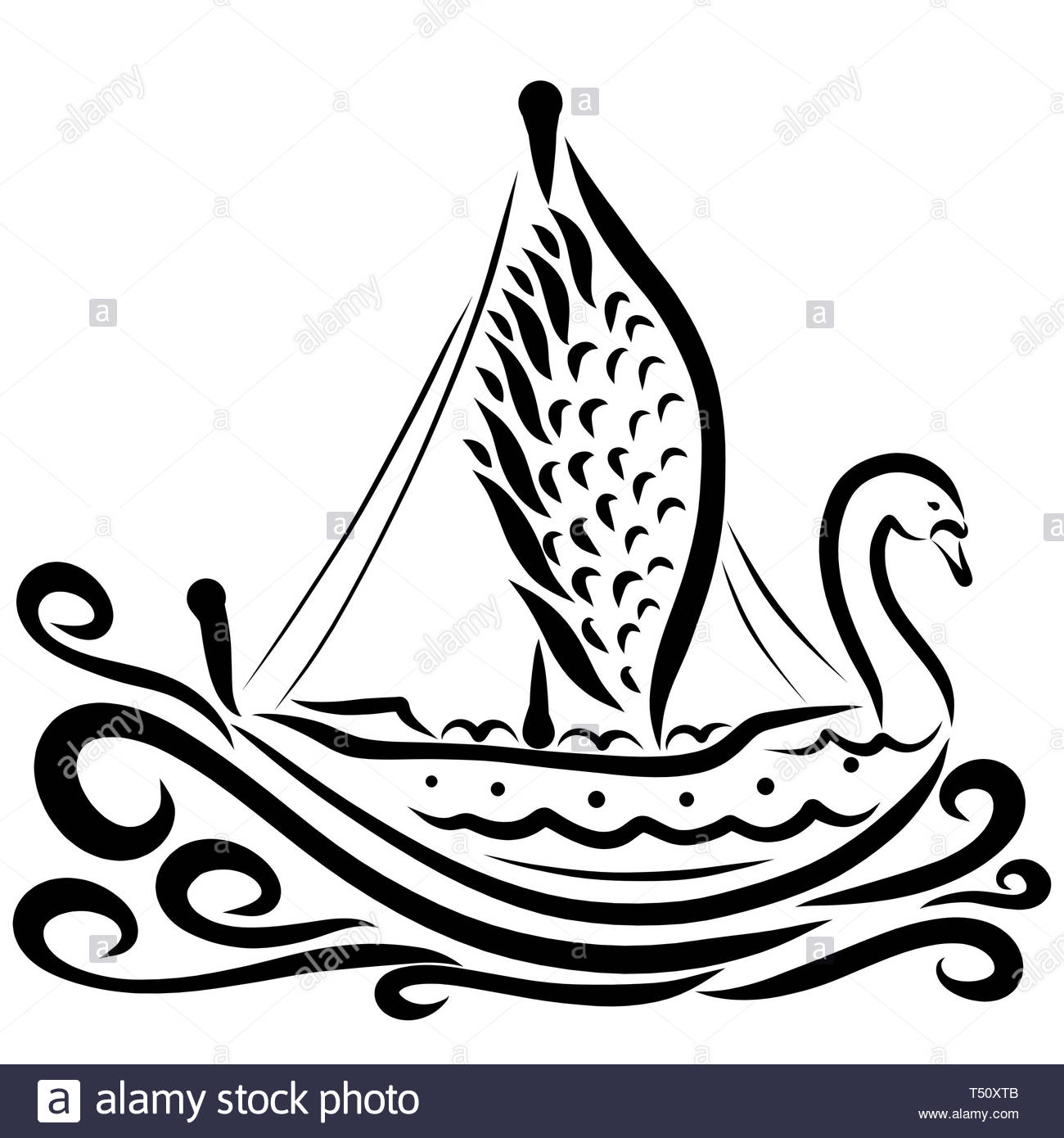 Beautiful swan-shaped sailing ship, black pattern, graceful bird Stock Photo