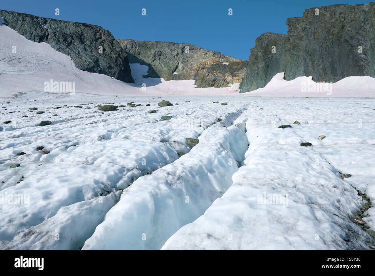 Sunny summer day on the Igan glacier. Polar Ural, Russia - Stock Image