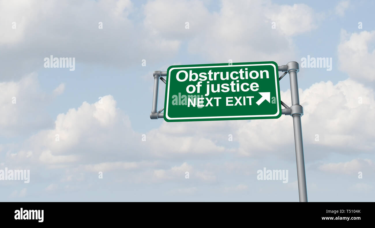 Obstruction of justice crime and obstructing the law as a United States jurisdiction criminal act symbol representing American legal and political. - Stock Image