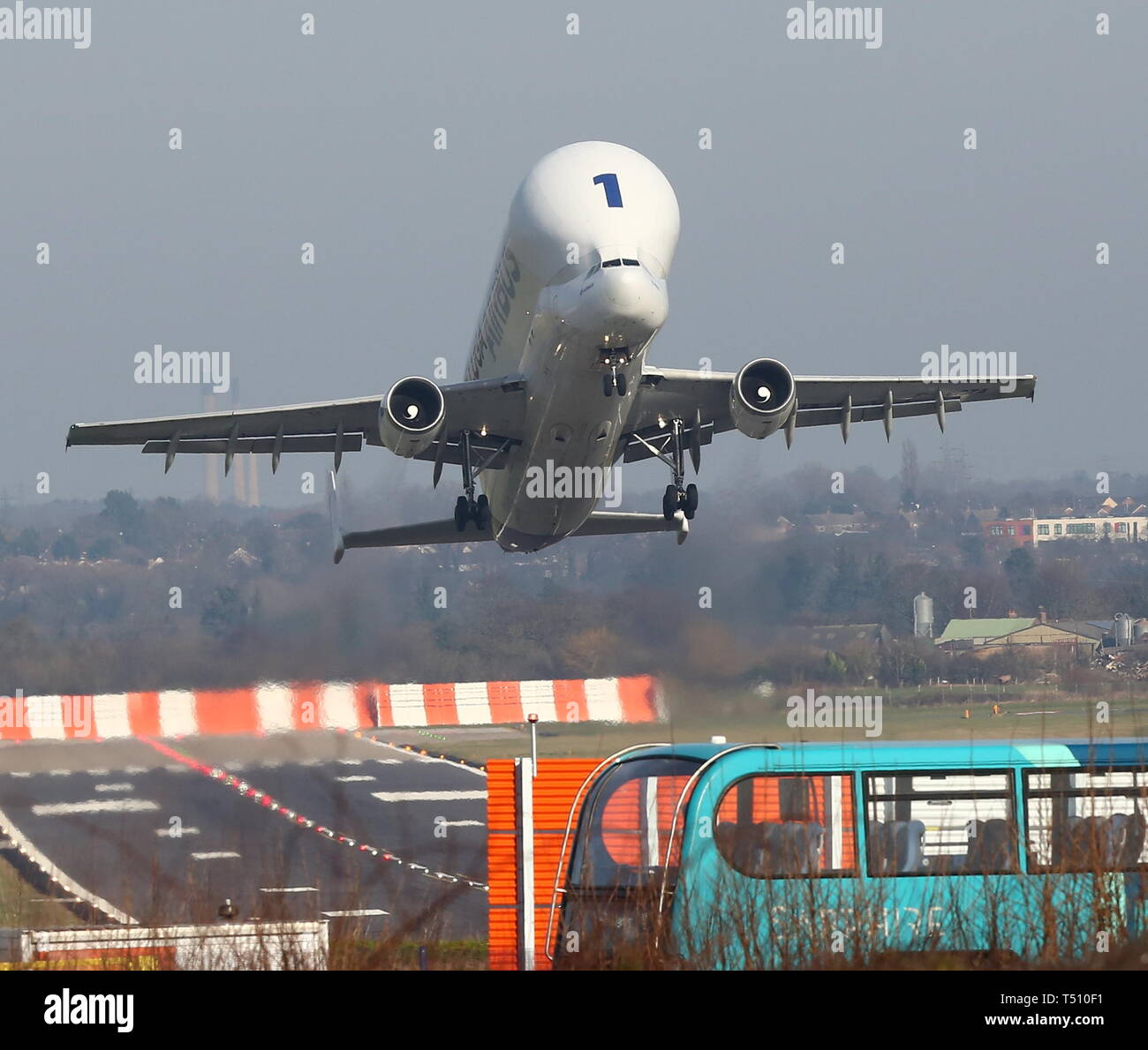 Beluga and Beluga XL taking off from Hawarden Airport credit Ian Fairbrother/Alamy Stock Photos Stock Photo