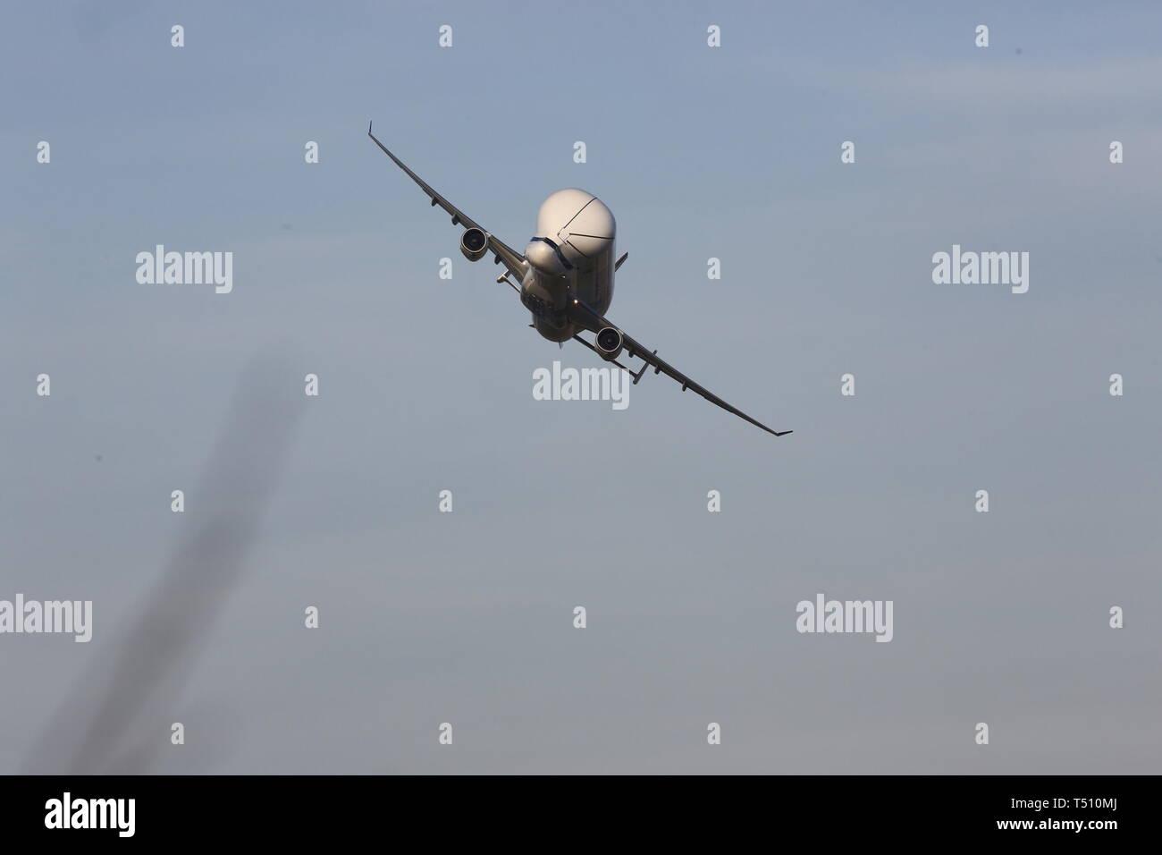 Beluga and Beluga XL taking off from Hawarden Airport credit Ian Fairbrother/Alamy Stock Photos Stock Photo
