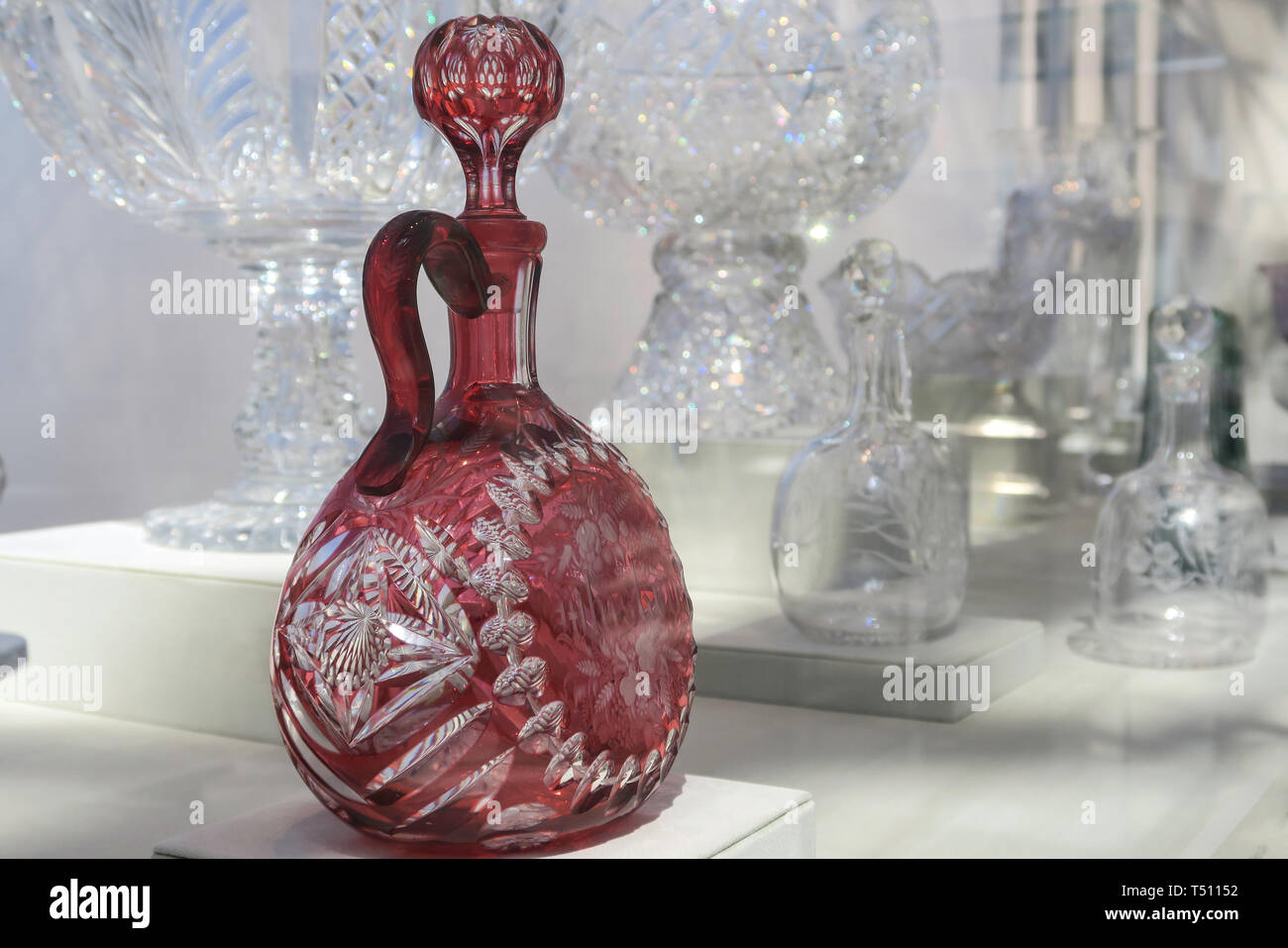 Cut and Engraved Luxury Glass Exhibit at the Metropolitan Museum of Art in New York City, USA - Stock Image