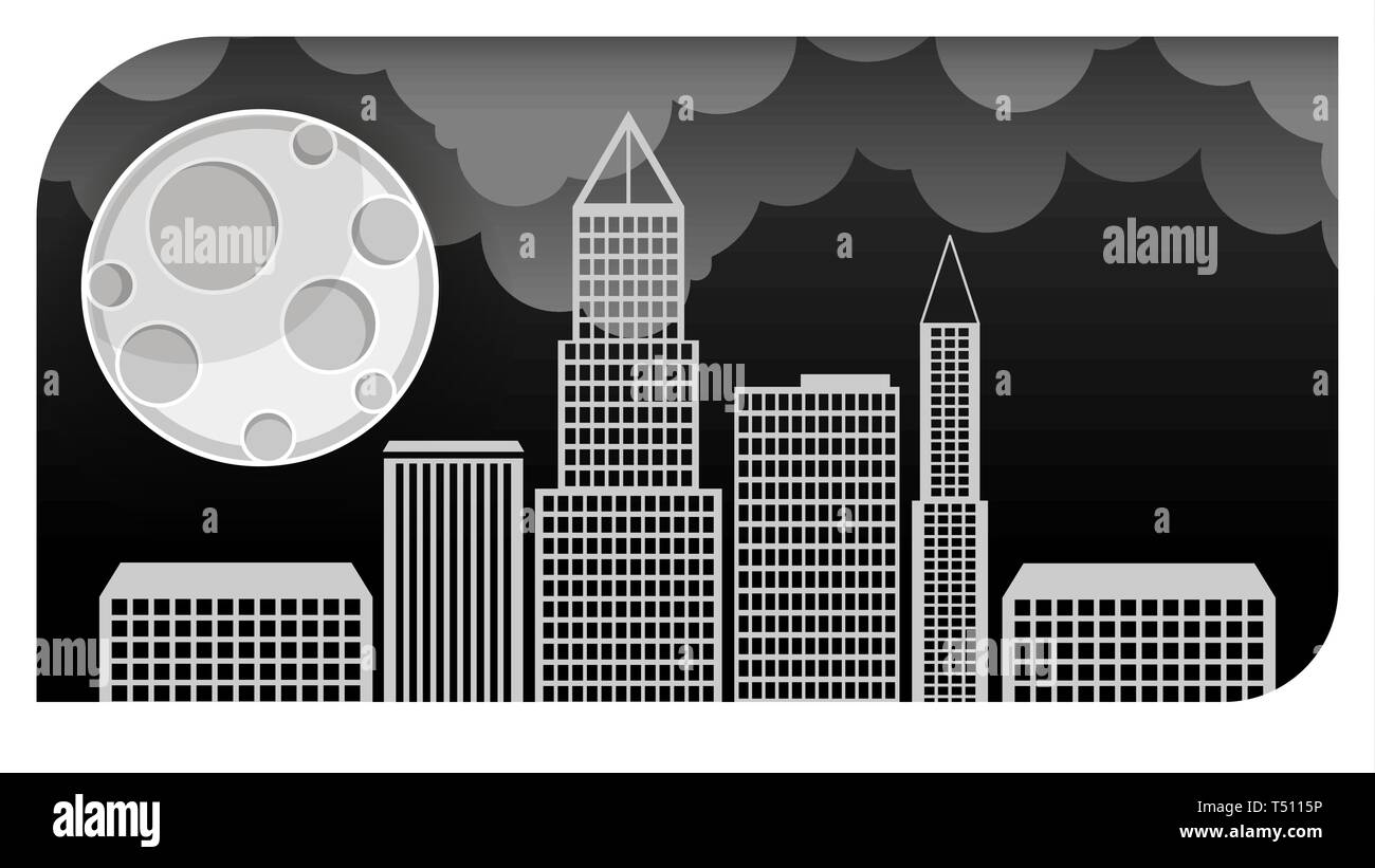 Night city vector illustration. Dark urban scape. Night cityscape in flat style - Stock Image