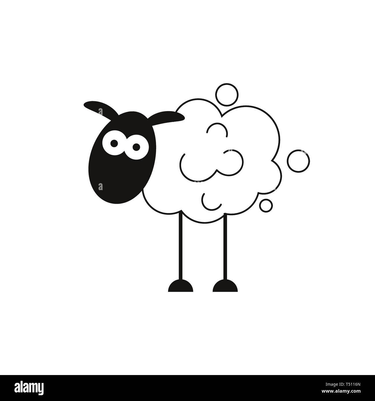 Lamb. Abstract Vector Sign, Symbol Or Logo Template. Hand Drawn Lamb Sillhouette With Retro Typography. - Stock Image