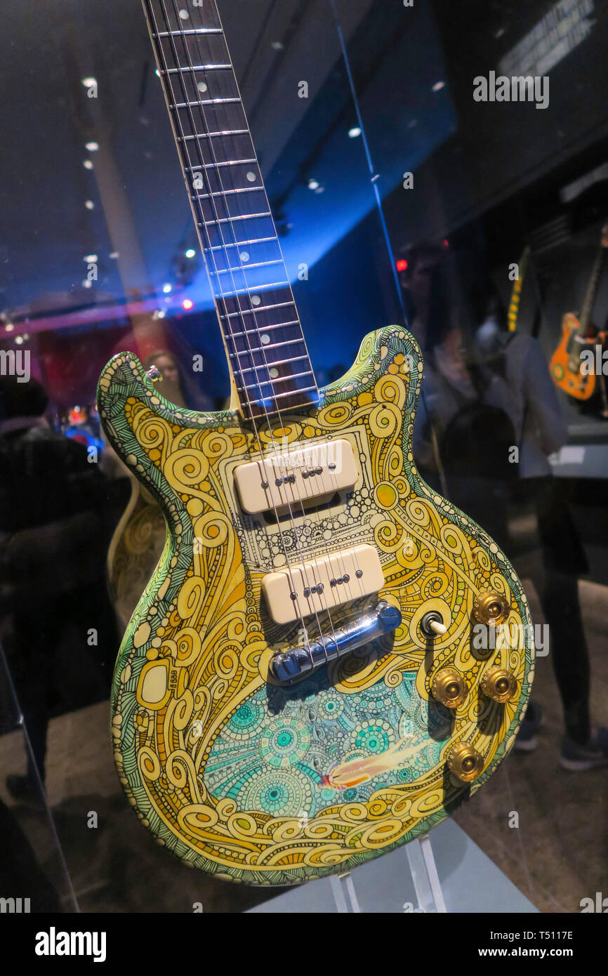 Play it Loud: Instruments of Rock & Roll is a popular exhibit at the Metropolitan Museum of Art, NYC, USA - Stock Image