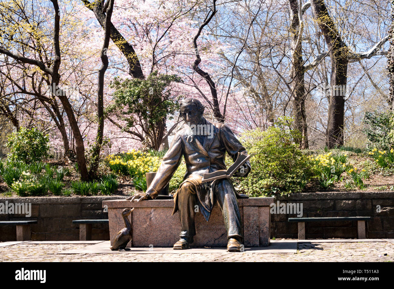 Hans Christian Anderson Statue is in Central Park, New York City, USA - Stock Image