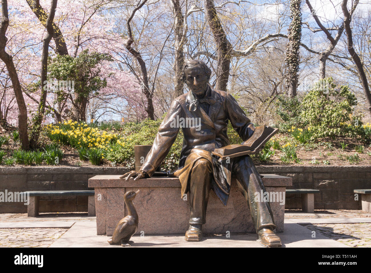 Hans Christian Anderson Statue is in Central Park, New York City, USA Stock Photo