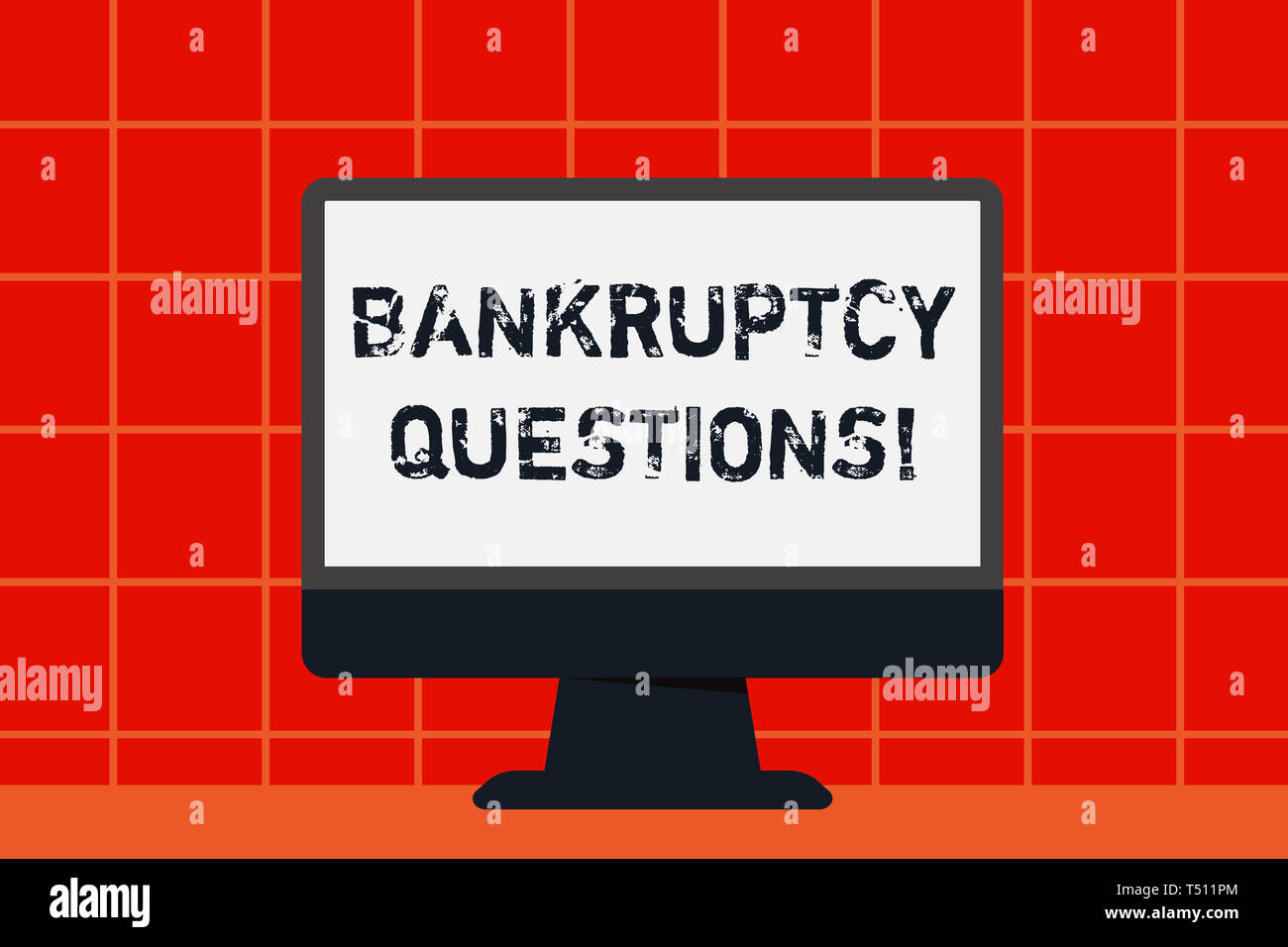 Conceptual hand writing showing Bankruptcy Questions. Concept meaning discarding debt or making a plan to repay debts Desktop Computer Colorful Monito - Stock Image