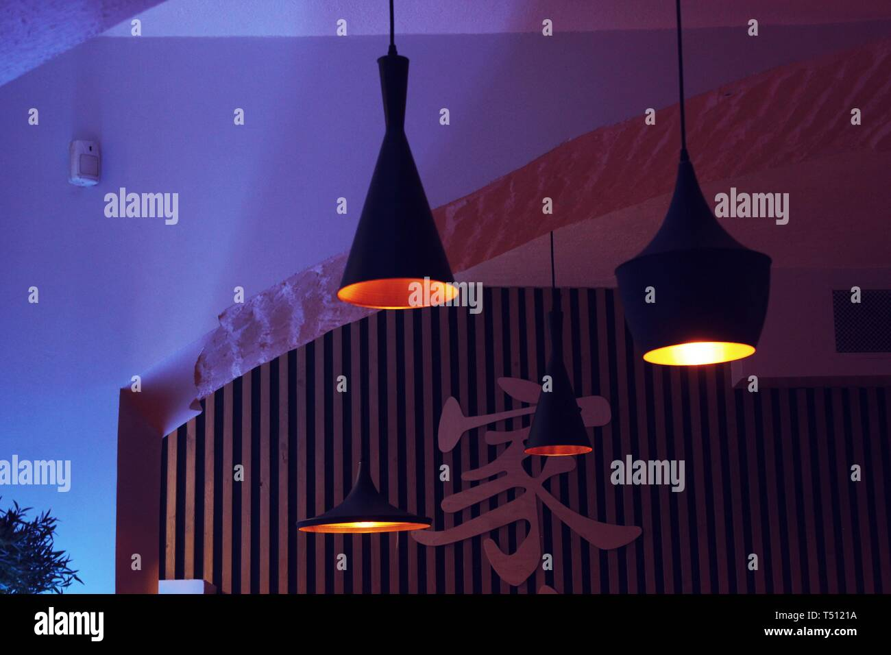 Saint Petersburg Russia Interior With Lamps And Colorful Lights Of Asian Japanese Restaurant Mashita Specialised In Ramen On Nevsky Prospect Stock Photo Alamy