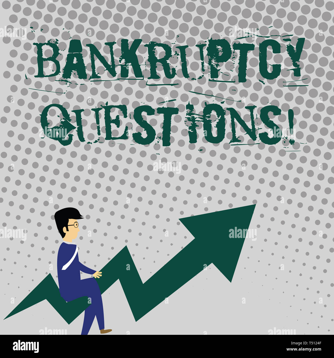 Handwriting text writing Bankruptcy Questions. Conceptual photo discarding debt or making a plan to repay debts Businessman with Eyeglasses Riding Cro - Stock Image