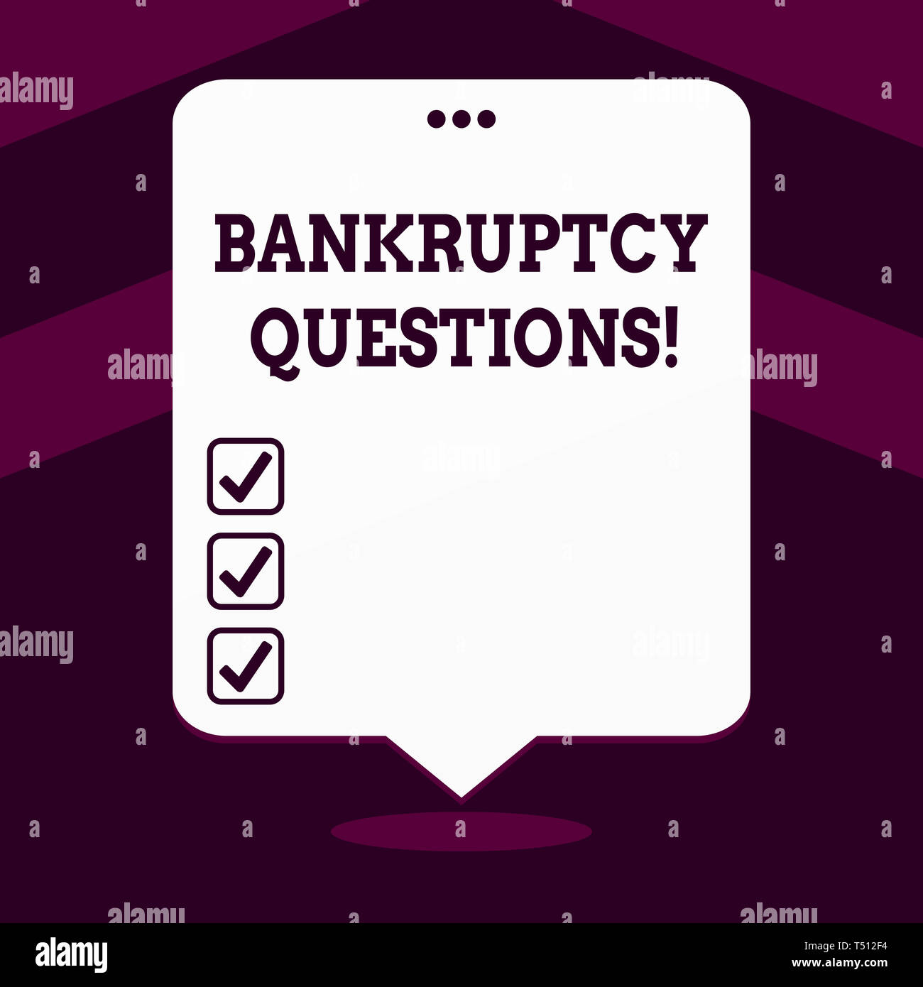 Writing note showing Bankruptcy Questions. Business concept for discarding debt or making a plan to repay debts White Speech Balloon Floating with Thr - Stock Image
