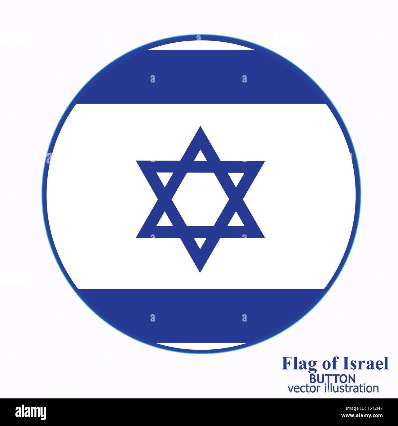 Bright button with flag of Israel. Independence Day of Israel background. Bright illustration with flag . - Stock Image