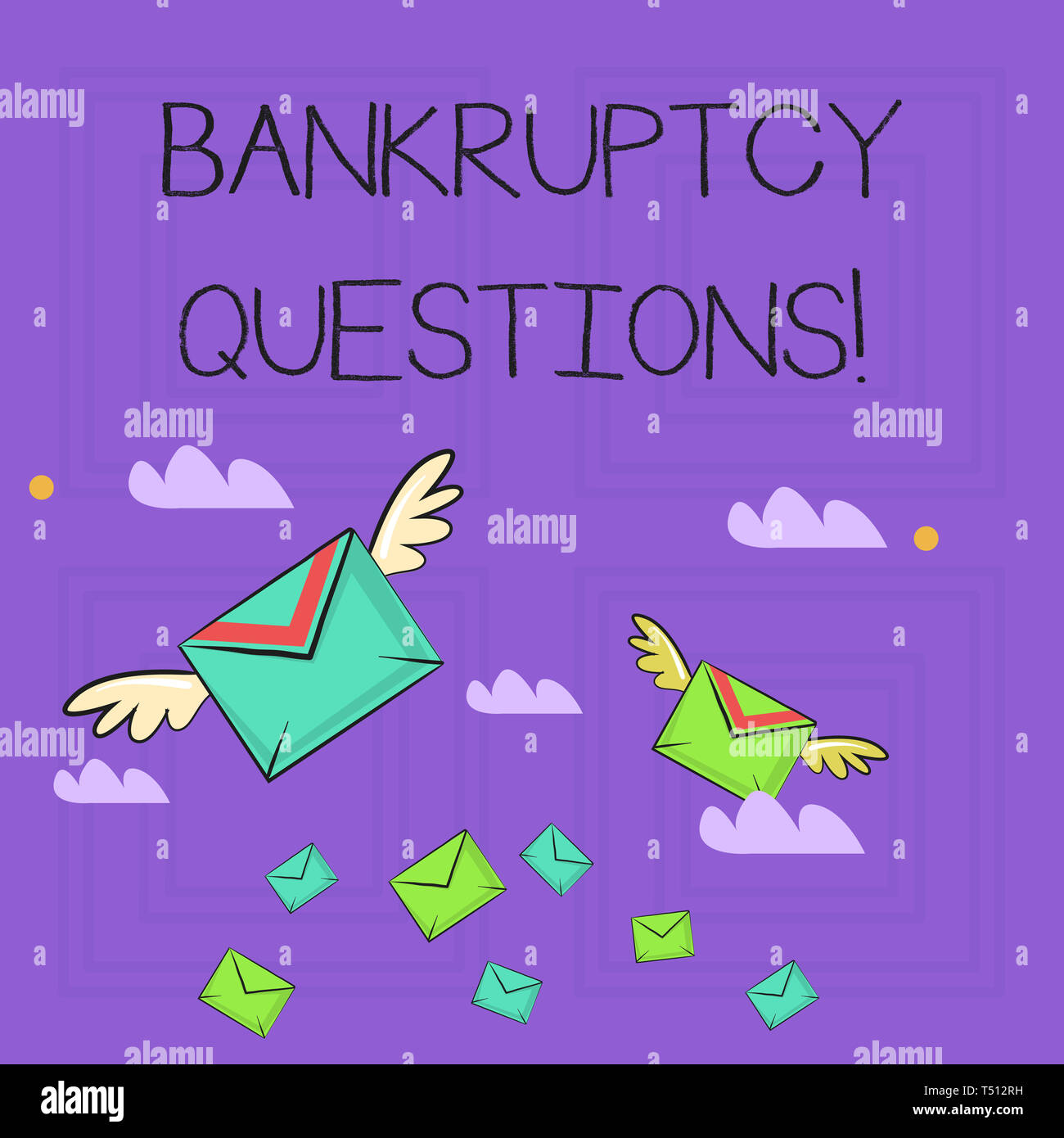 Writing note showing Bankruptcy Questions. Business concept for discarding debt or making a plan to repay debts Colorful Airmail Letter Envelopes and  - Stock Image