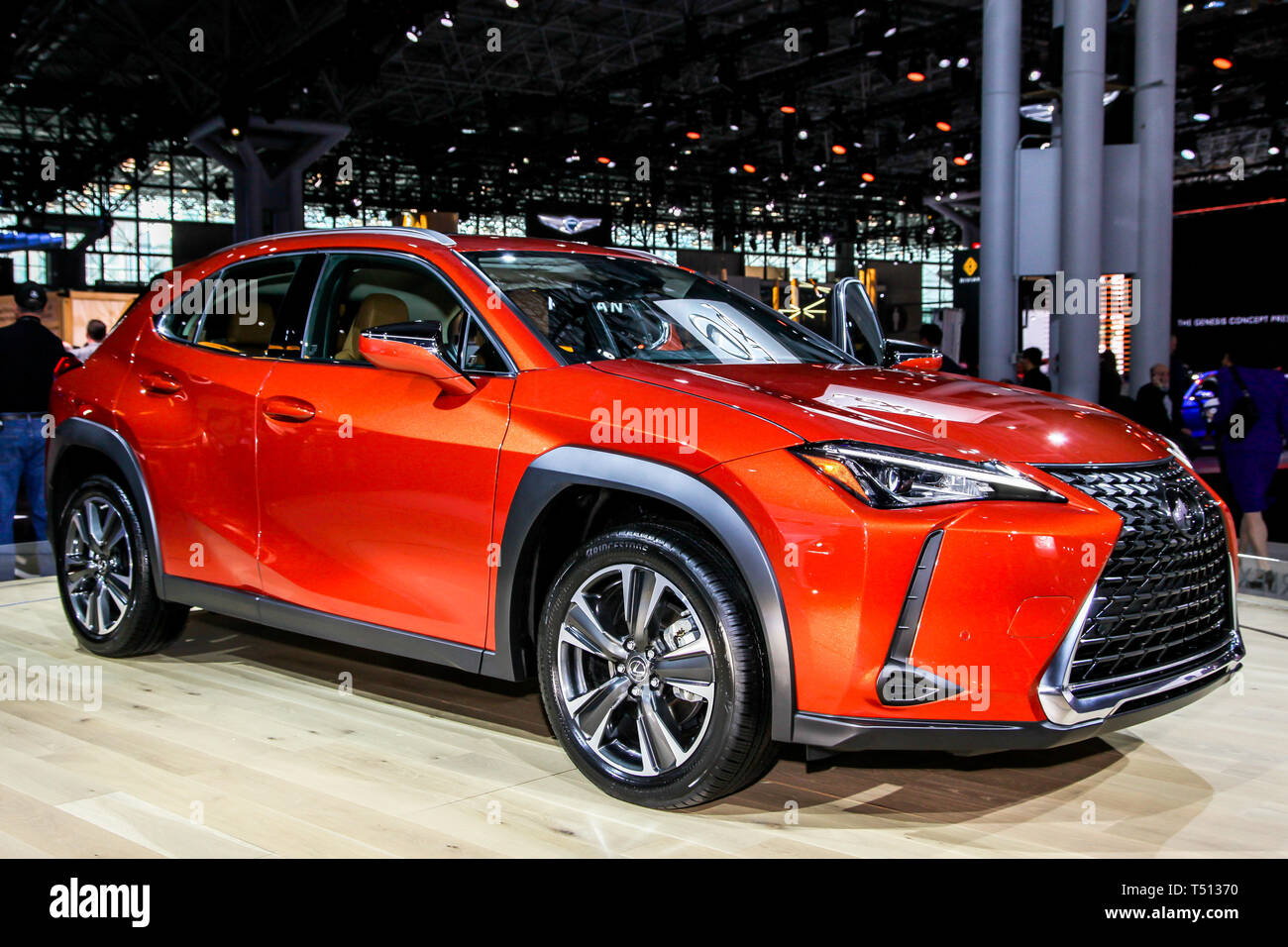 Lexus UX 200 shown at the New York International Auto Show 2019, at the Jacob Javits Center. This was Press Preview Day One of NYIAS - Stock Image