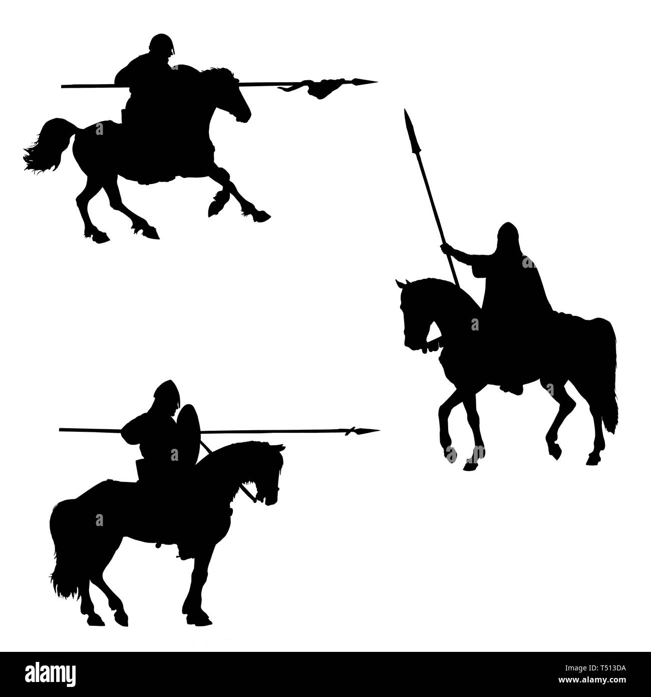 Medieval mounted knights illustration. Knight on horseback. Set of 3 medieval crusaders. Black and white digital drawing. Knights silhouette. - Stock Image