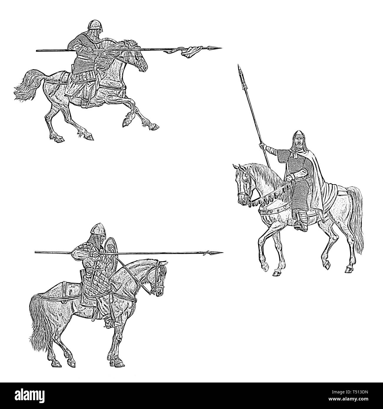 Set of 3 medieval mounted crusaders. Medieval mounted knights illustration. Knight on horseback.  Black and white digital drawing. - Stock Image
