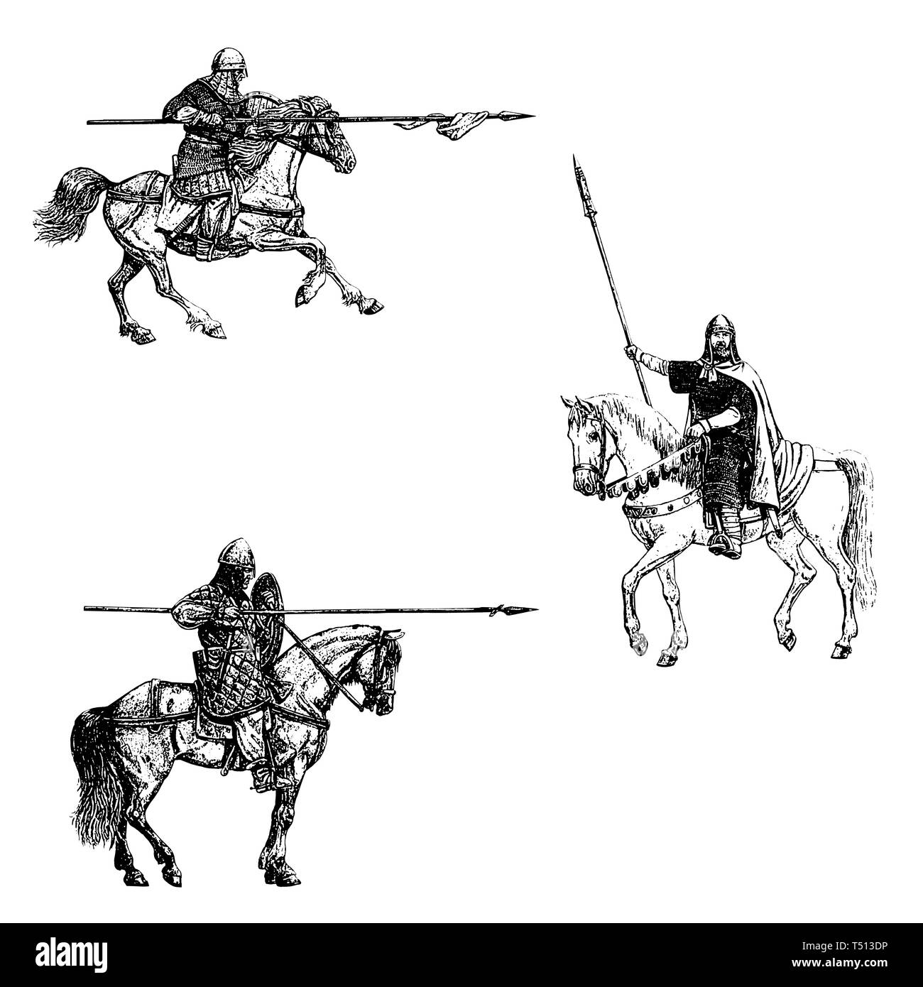 Medieval mounted knights illustration. Knight on horseback. Set of 3 medieval crusaders. Black and white digital drawing. - Stock Image