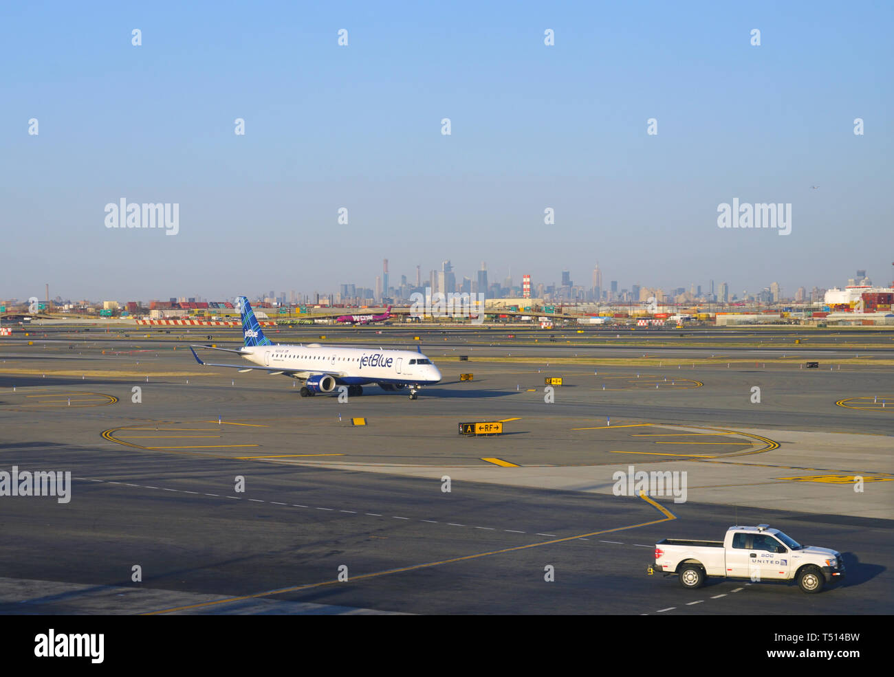 NEWARK, NJ -3 APR 2019- View of a plane from JetBlue (B6) at