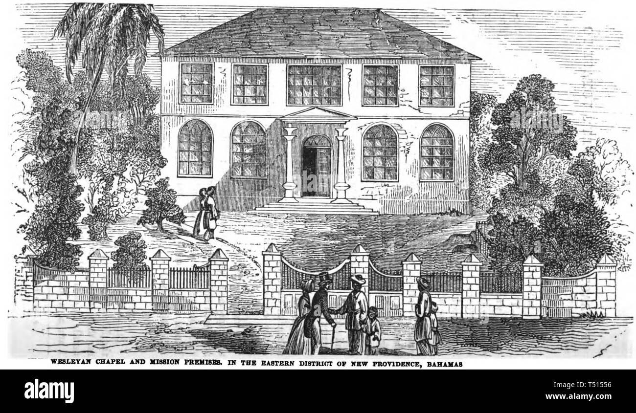 Wesleyan Chapel and Mission Premises. In the Eastern District of New Providence, Bahamas (p.6, 1849) (Ebenezer Methodist Church, Nassau, Bahamas) - Stock Image