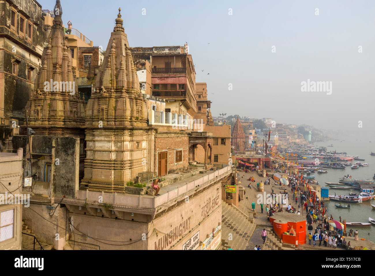 India, Uttar Pradesh, Varanasi, Gange River and Historic Ghats - Stock Image