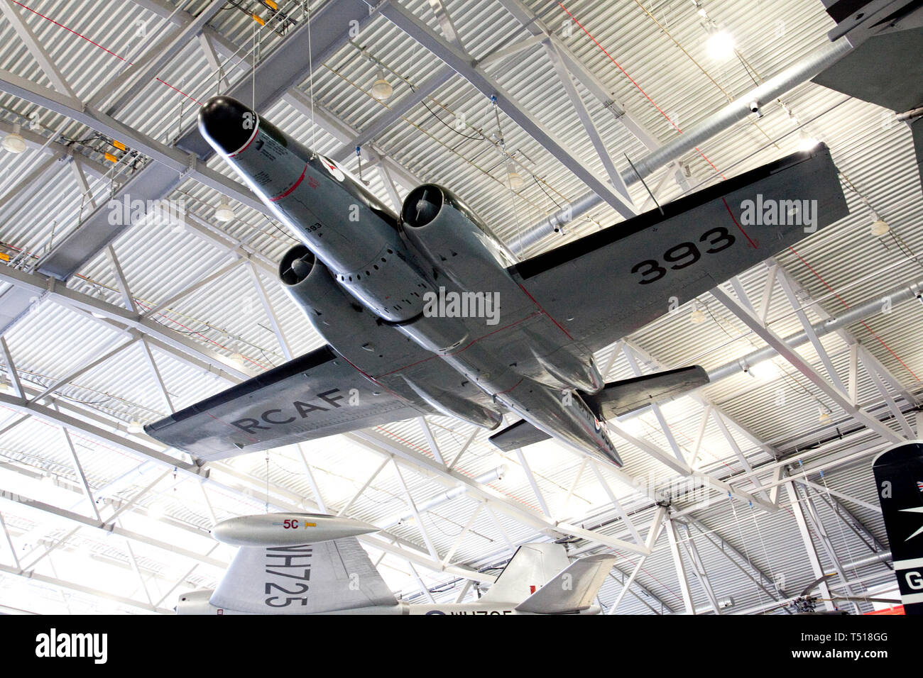 Avro Canada CF-100 Canuck in the American Air Museum at Duxford Imperial War Museum,Cambridgeshire, England. - Stock Image