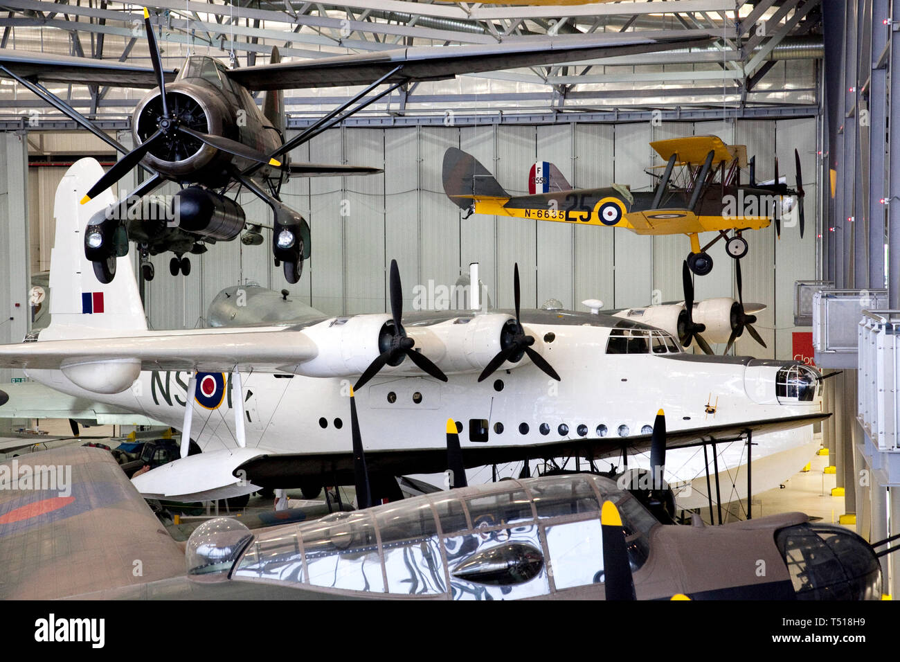 Flying Boat or Short Sunderland MR.5, in the American Air Museum at Duxford Imperial War Museum,Cambridgeshire, England. - Stock Image