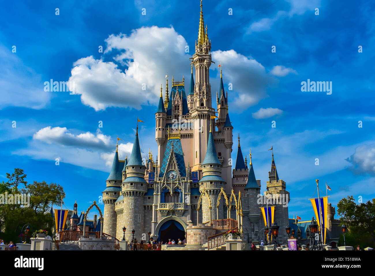 Orlando, Florida  March 19, 2019  Panoramic view of Cinderella's