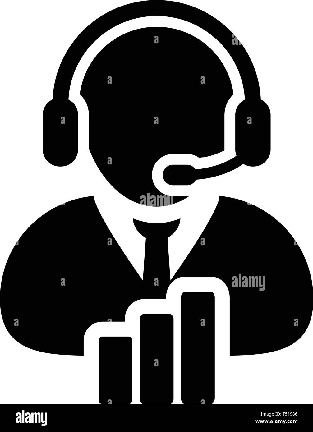 Call center icon vector male data support customer service person profile avatar with headphone and bar graph for online assistant in glyph pictogram  - Stock Image
