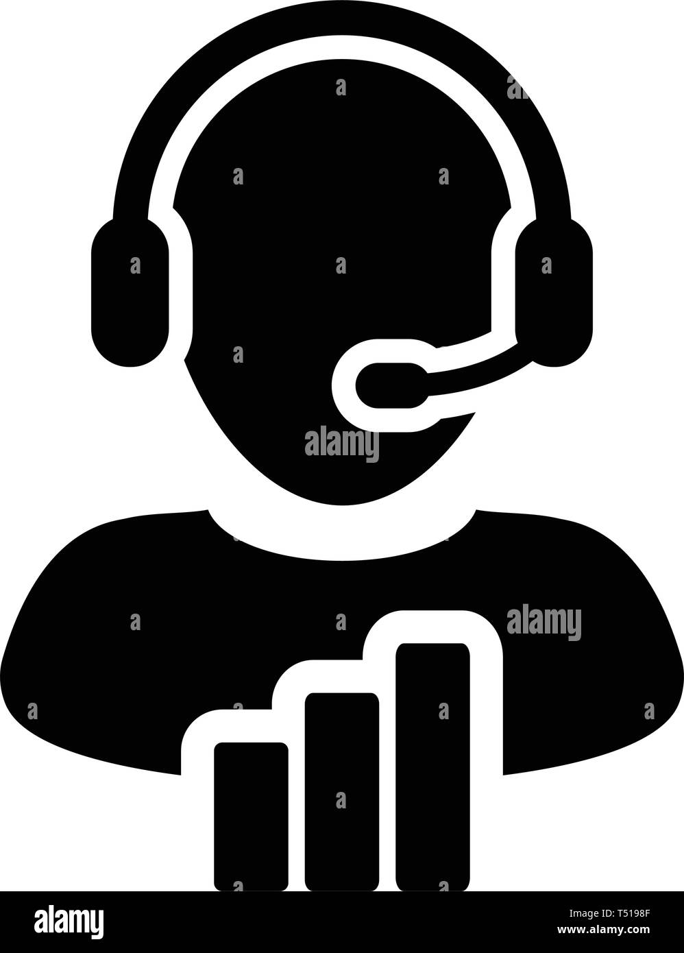 Technical support icon vector male data customer service person profile avatar with headphone and bar graph for online assistant in glyph pictogram - Stock Image