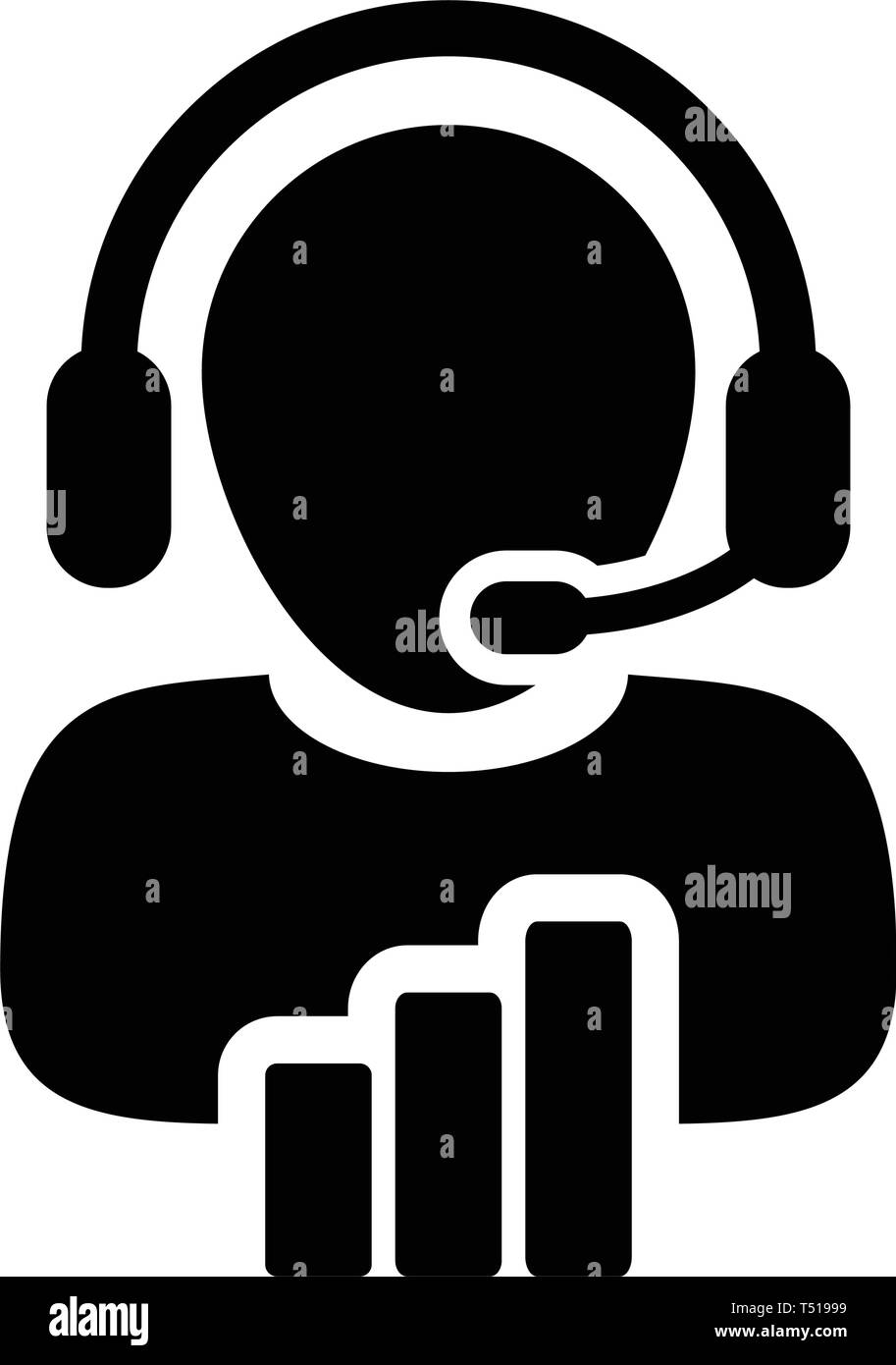 Customer helpline icon vector male data support service person profile avatar with headphone and bar graph for online assistant in glyph pictogram - Stock Image