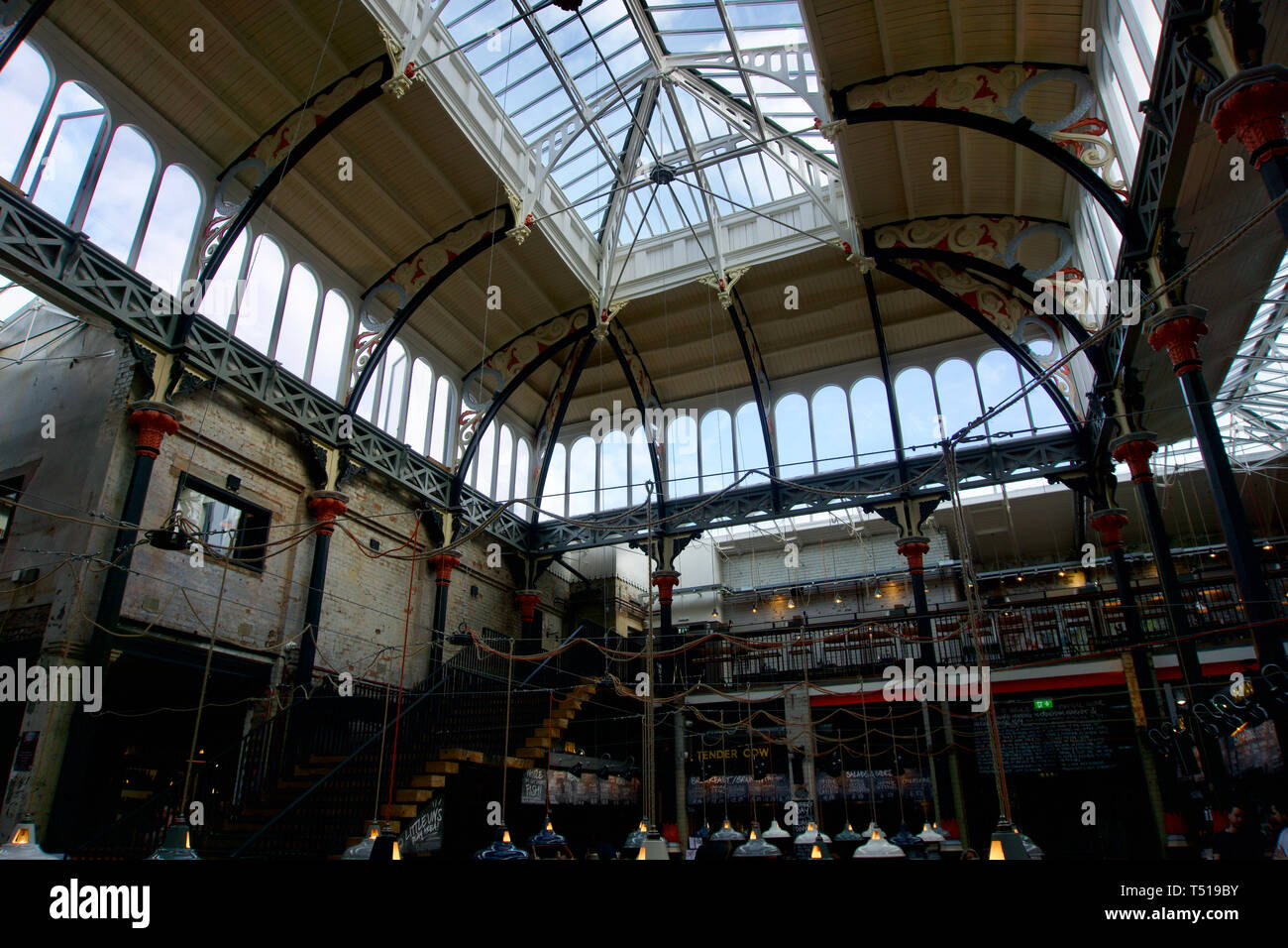 Interior of Mackie Mayor Market in Manchester Northern Quarter - Stock Image