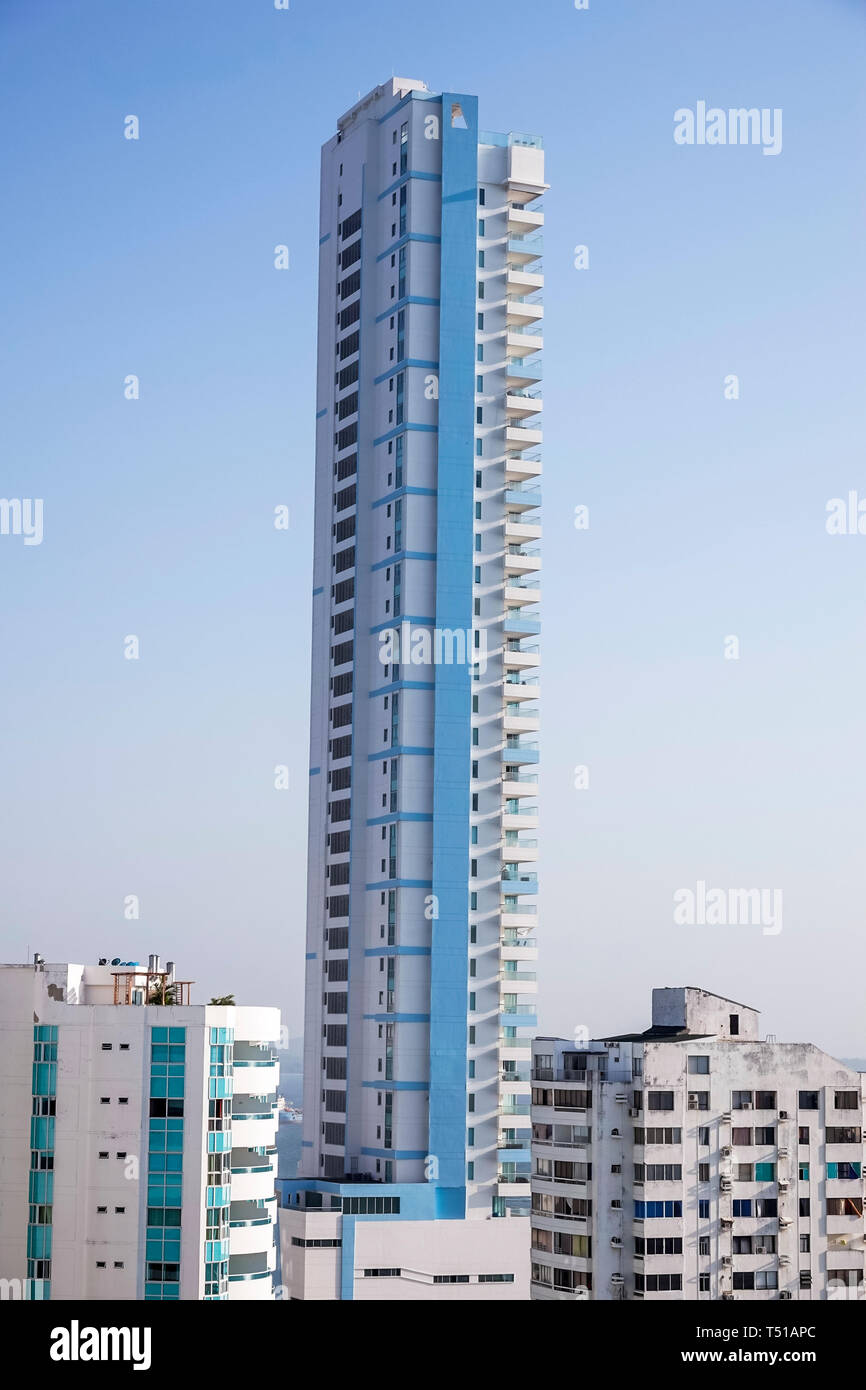 Cartagena Colombia El Laguito apartment building high rise tall skinny building height condominium - Stock Image